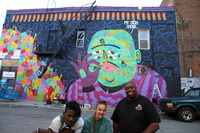 Parisian artist Kashink & her mural with Paul Johnson & Chef Eric 2015